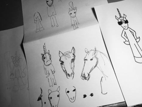 trying to draw unicorns and horses